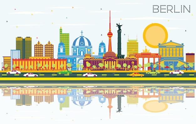 Горизонты города берлин германия с цветными зданиями, голубым небом и размышлениями. векторные иллюстрации. деловые поездки и концепция туризма с исторической архитектурой. городской пейзаж берлина с достопримечательностями.