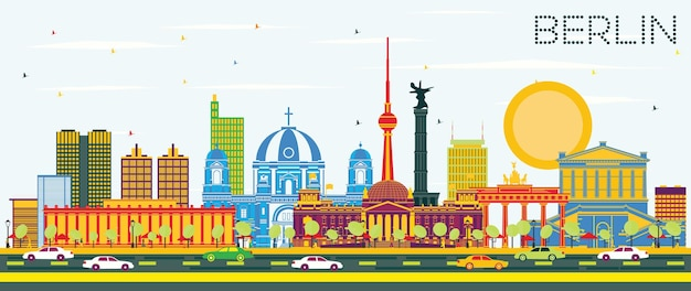 Berlin germany city skyline with color buildings and blue sky. vector illustration. business travel and tourism concept with historic architecture. berlin cityscape with landmarks.