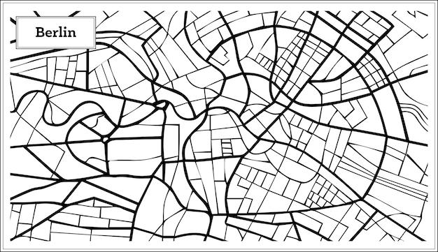 Карта германии берлин в черно-белом цвете. векторные иллюстрации. контурная карта.