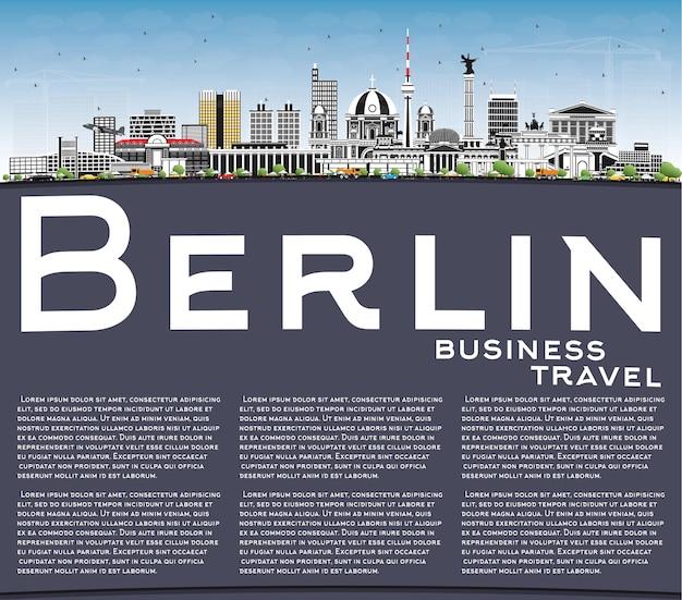 회색 건물, 푸른 하늘 및 복사 공간이 있는 베를린 독일 스카이라인. 벡터 일러스트 레이 션. 역사적인 건축과 비즈니스 여행 및 관광 개념입니다. 랜드마크가 있는 베를린 도시 풍경.