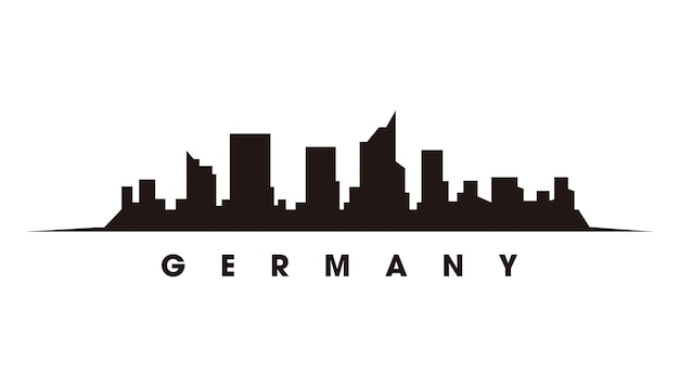 ベルリンのスカイラインとランドマークのシルエットのベクトル図