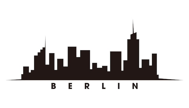 ベルリンのスカイラインとランドマークのシルエットベクトル
