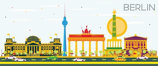 컬러 건물과 푸른 하늘이 있는 베를린 스카이라인. 벡터 일러스트 레이 션. 역사적인 건축과 비즈니스 여행 및 관광 개념. 프레젠테이션 배너 현수막 및 웹사이트용 이미지.