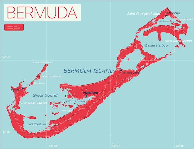 Bermuda detailed editable map with regions cities and towns, roads and railways, geographic sites.