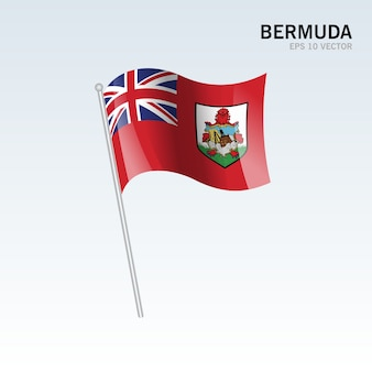 Bermuda waving flag isolated on gray background
