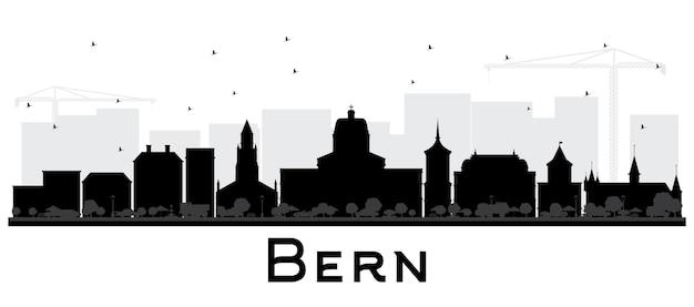 흰색 절연 검은 건물 베른 스위스 도시의 스카이 라인. 벡터 일러스트 레이 션. 역사적인 건축과 비즈니스 여행 및 관광 개념입니다. 랜드마크가 있는 베른 도시 풍경.