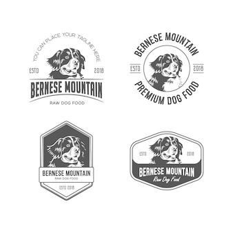 Bernese mountain dog food logo set