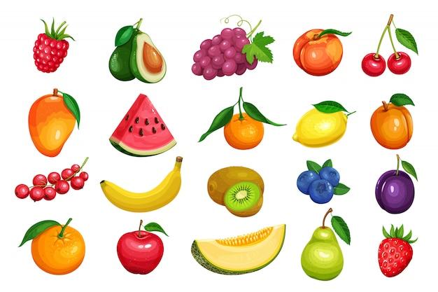 Ягоды и фрукты в мультяшном стиле