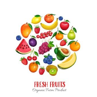 Ягоды и фрукты круглый постер