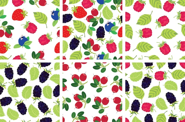 Berries backgrounds set