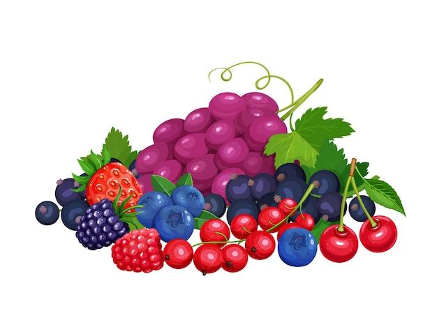 Баннер ягод. вишня, красная смородина, ежевика, черника, клубника, малина и виноград. иллюстрация концепции здорового питания.