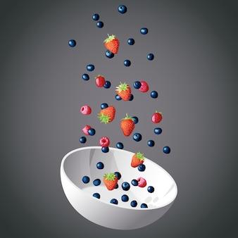 어두운 배경에 컵에 비행 열매. 과일 컵. 열매와 요리, 다른 열매의 설정. 여러 가지 빛깔의 열매와 흰색 컵입니다. 삽화