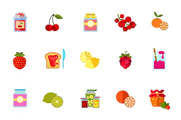 Berries and fruits icon set