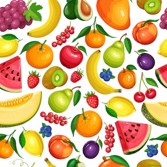 Berries and fruits seamless pattern. raspberries, strawberries, grapes, currants and blueberries. lemon, peach, apple or pear. orange , watermelon avocado and melon