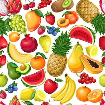 Berries and fruits seamless pattern, vector illustration. background with pitaya, pomegranate, raspberries, grapes, currants and blueberries. lemon, peach, apple, watermelon avocado and melon
