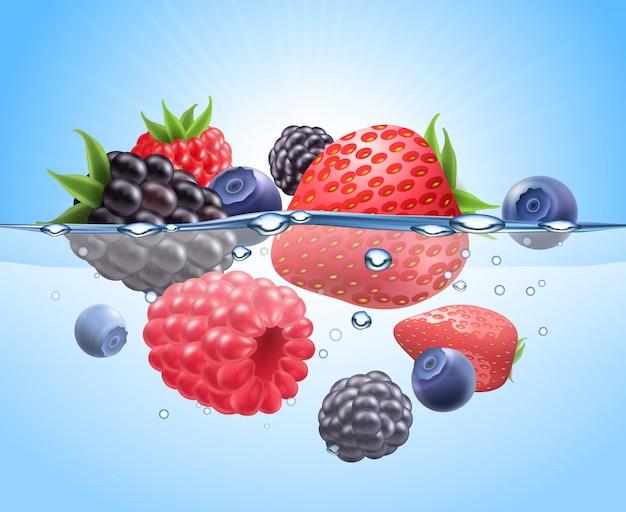 물 현실적인 구성에 딸기