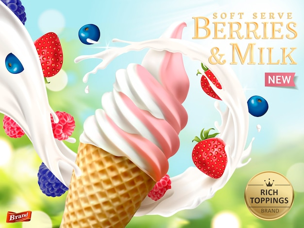 Berries and milk soft serve ads illustration