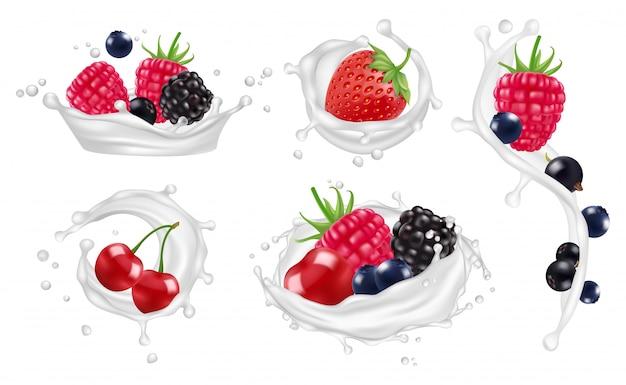 Berries milk splashes  set. strawberry, raspberry, blueberry fruits and yogurt splashes   illustrations