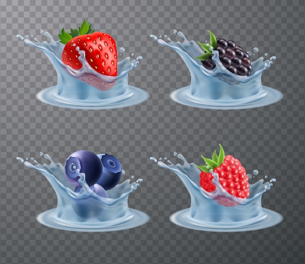 Berries water splashes realistic set