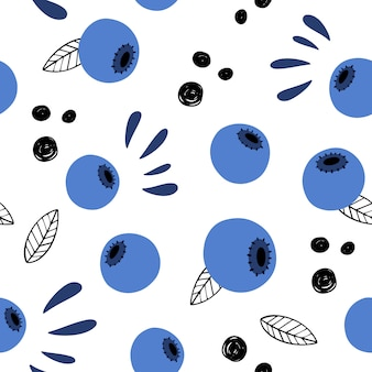 Berry abstract vector seamless pattern. doodle, hand-drawn blueberries.