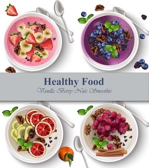Ягоды и орехи здоровый завтрак реалистичные иллюстрации