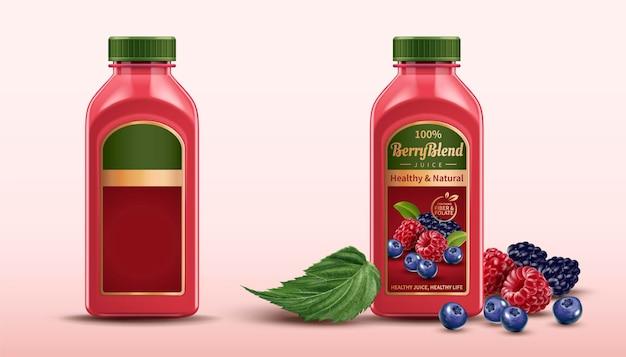 Berry blend bottled juice package design set with fresh fruits