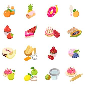 Berry cake icon set