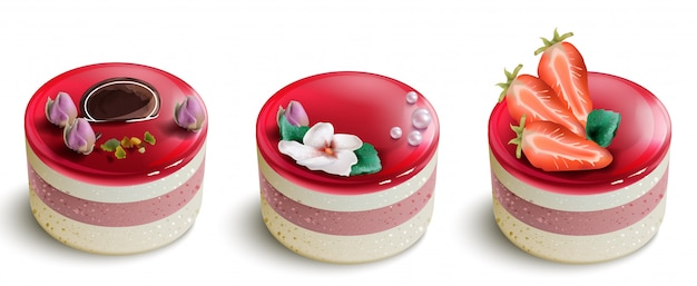 Berry cake mousse collection