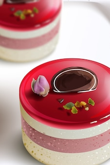 Berry cake realistic mousse