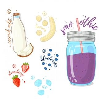 健康的な生活のためのベリーカクテル。ブルーベリー、ココナッツミルク、イチゴ、バナナのスムージー。ガラス瓶入りのレシピベリースムージー。