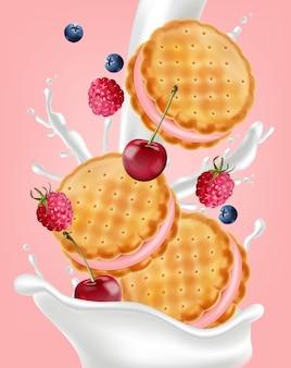 Berry cream cookies mock up