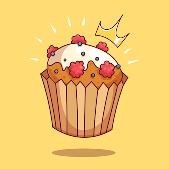 Berry cupcake in icing cartoon vector icon illustration