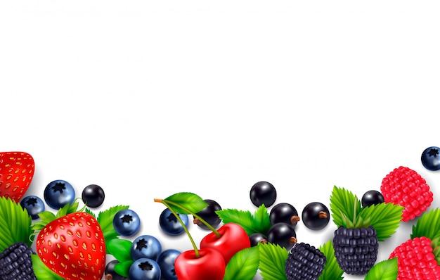 Ягодный фруктовый реалистичный фон с пустым пустым пространством и красочной рамкой с изображениями листьев и ягод