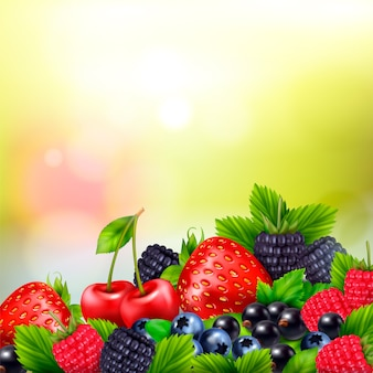 Berry fruit realistic blurred background with pile of berries and ripe leaves with bright lens flares
