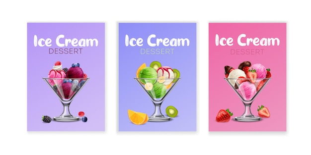 Набор карточек ягодного мороженого в стеклянных стаканчиках