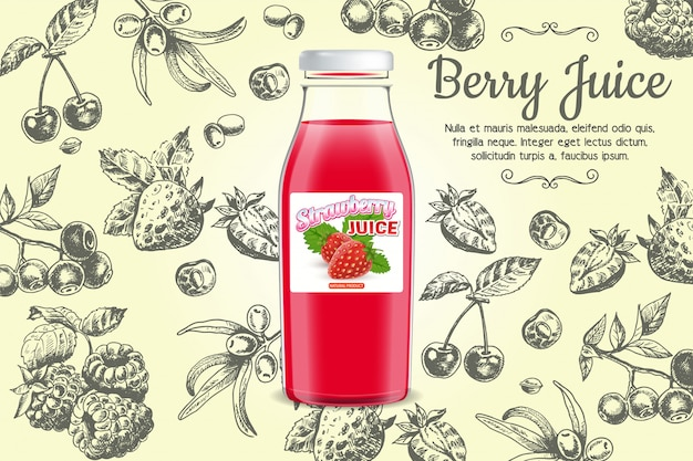 Berry juice banner template
