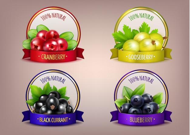 Berry labels realistic eco collection