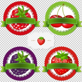 Berry labels with gradient mesh,  illustration