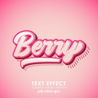 Berry letter premium text effect with pink theme and 3d design and pattern