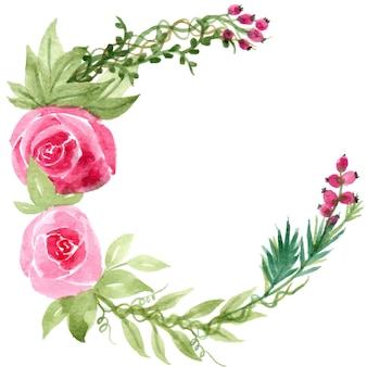 베리 장미 꽃 수채화