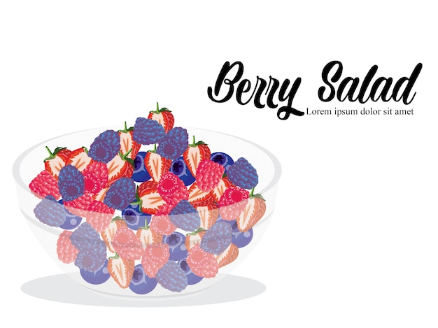 Berry salad isolated white background