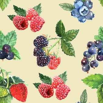 Berry seamless pattern with strawberry raspberry black currant