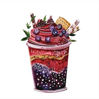 ベリースムージー手描き水彩イラストセット新鮮な飲み物ソフトドリンク有機栄養健康食品白地にスイートミートデザートアクアレル絵画コレクション