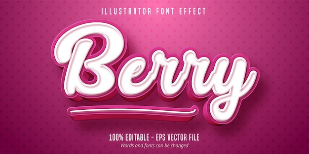 Berry text,  pastry style editable font effect