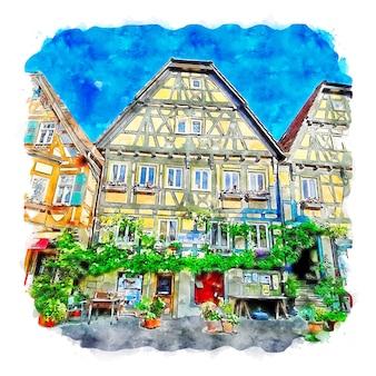 Besigheim 독일 수채화 스케치 손으로 그린 그림