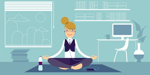 An bespectacled yoga girl.