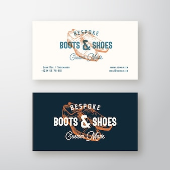 Bespoke boots retro sign, symbol or logo and business card