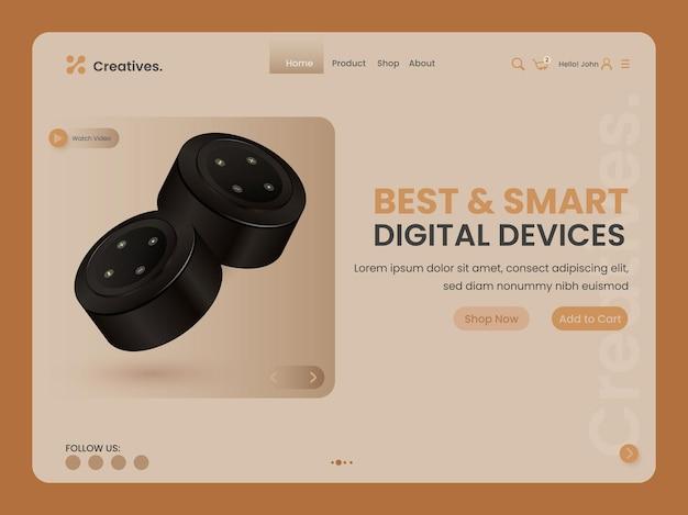 3d 미니 스피커가 포함된 최고의 스마트 디지털 장치 기반 랜딩 페이지.