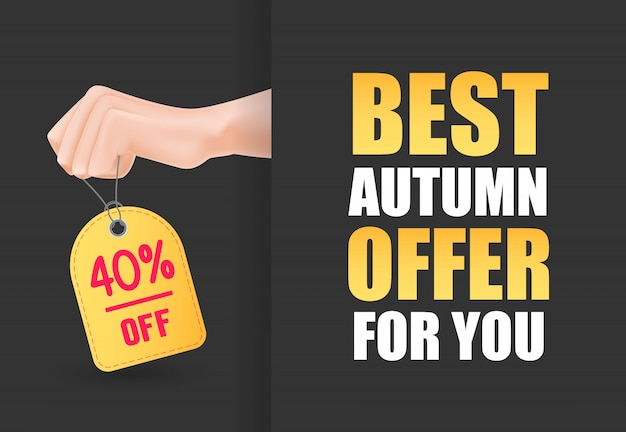 Best autumn offer for you lettering with hand holding tag