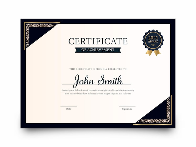 Best award certificate of achievement template layout on white background.